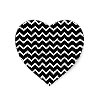 Black and White Zig Zag Pattern. Heart Sticker
