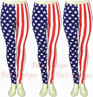 Girls American Flag Design Leggings Stars Stripes USA Footless Fashion