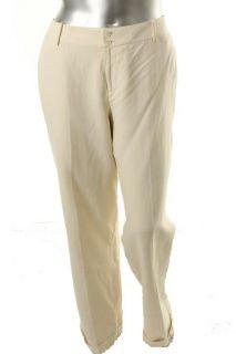 Ralph Lauren New Andover Tan Wide Leg Cuff Hem Silk Dress Pants Plus