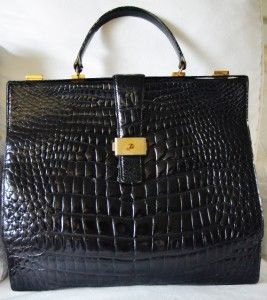 Lederer de Paris Vintage Croc Alligator Crocodile Large Black Bag