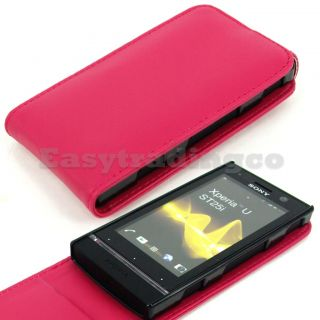 Vertical Flip Leather Case Sony Xperia U ST25i Hot Pink