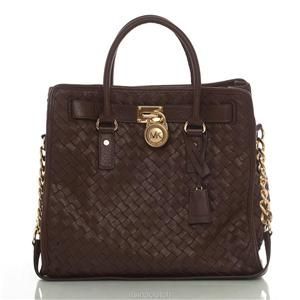 Auth Michael Kors Mocha Woven Leather Hamilton Tote Bag