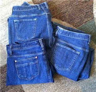18W 1X Plus Size *3 PC JEANS LOT* Bootcut Dark Denim Pants Trousers