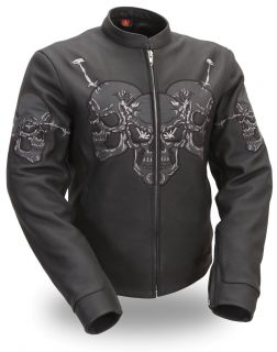 Womens Raceway Skull Motorcycle Biker Leather Jacket