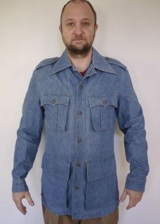 Vintage 1970s LEE Western Blue DENIM Fitted JEAN JACKET Disco Blazer