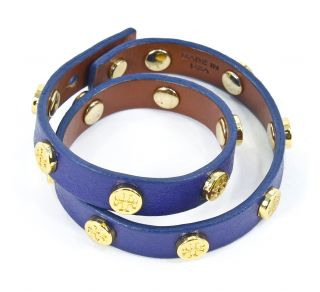 Tory Burch Logo Studded Leather Wrap Bracelet Shock Blue New