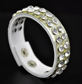 Band Double Rhinestone Studs PU Leather Bracelet Wristband