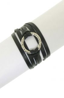 125 LEILA Hammered Ring Double Wrap LEATHER BRACELET ~ NEW & PERFECT