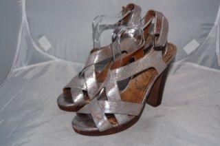 Silver Leather River Island Platform Sandals UK 5 38