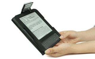 Kindle 3 Black Leather Case with Built in Reading Light