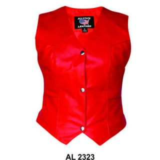 Ladies Womens Red Genuine Leather Motorcycle Biker Vest Jacket s M L