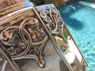 RARE Old Gothic Pot Sterling Silver Portuguese Large Heavy Important