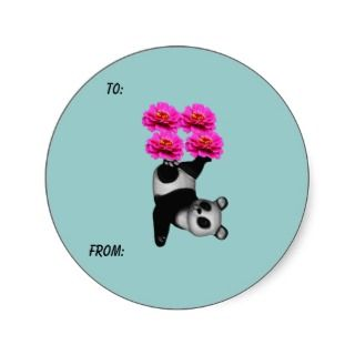 Juggling Panda Bear Flower Photo Gift Tag Sticker