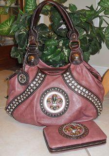New JC New York Classic Fleur de Lis Rhinestone Bag Mauve