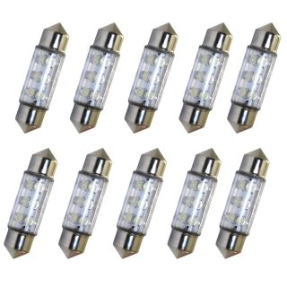 10 x Car White 6 LED Festoon Interior Light Bulbs 36mm 3423 3425 6461