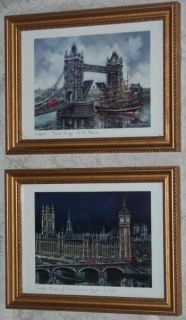 Vintage Framed LONDON ENGLAND PRINTS Big Ben/Bridge MAURICE LEGENDRE