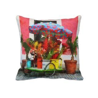 Flower Cart San Juan, Puerto Rico Throw Pillows