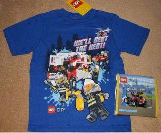 LEGO City *Rescue* Blue Tee T Shirt NWT sz 5 + TOY