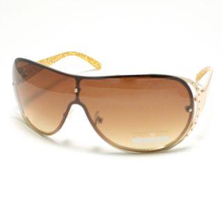 Fashion Womens Shield Sunglasses Rimless Brown Leopard