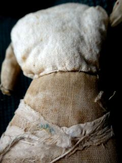 victorian HEADLESS LINEN CLOTH STUFFED DOLL body for porcelein head