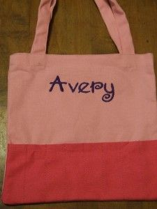 Personalized Crayon Tote 9W x 8.5L Light Pink/Dark Pink 100% Cotton