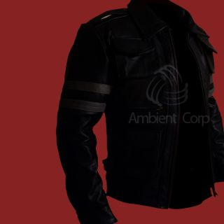 Resident Evil 6 Leon s Kennedy Black Biker Slim Fit Genuine Leather