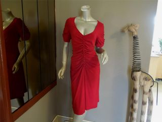 LEONA EDMISTON RED 2011 COLLECTION RUCHED DRESS NEAR NEW SIZE 4 AUS 16