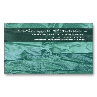 Crumpled Metallic Paper Business Card (teal)
