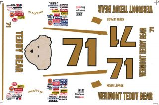 71 Kevin Lepage Vermont Teddy Bear 1 32nd Scale Slot Car Decals