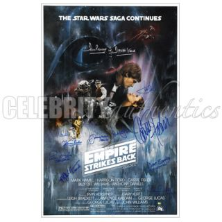 Star Wars Cast Signed Empire Strikes Back 27x40 A Poster Harrison Ford
