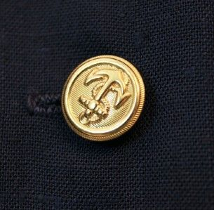 80s Dark Navy Blue Gold Sailor Dress 16 L Deadstock Button Down