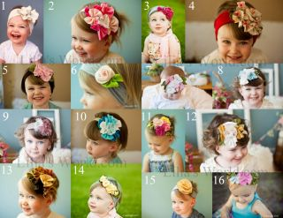 Roses Cotton Vintage Elastic Headband Baby Girl Hair Bow Kufi Infant