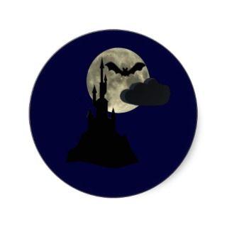 spooky castle in full moon sticker