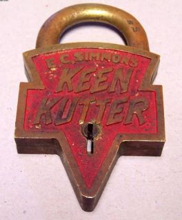 Vintage Brass Keen Kutter Lock E C Simmons No Key