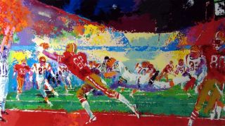 Leroy Neiman Super Play Football Hand Signed Framed Original Color