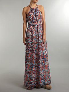 Andrew Marc Printed halter maxi dress Multi Coloured