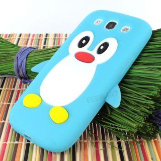 Light Blue Cute Penguin Silicone Soft Case Cover Skin Samsung Galaxy S