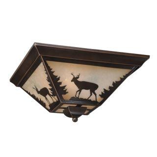 New 3 Light Rustic Deer Flush Mount Ceiling Lighting Fixture Burnished