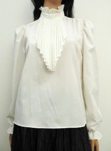 Vintage 70s Off White Secretary Shirt Blouse s M Pleated Ascot Cravat