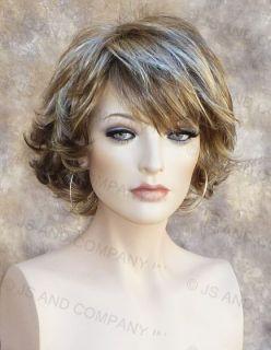 Short Wavy Wig Stunning Golden Ash Brown Blonde Mix H12 613 LN