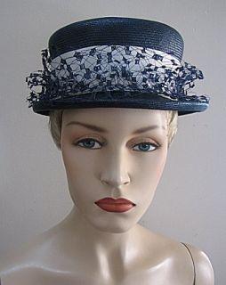 Ladies Vintage 22 Navy Straw Hat White Band Veil 944