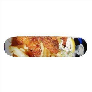 French Fries Shrimp Crab Cakes Fish Tartar Skate Board