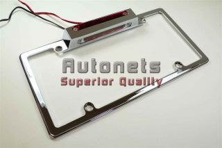 Chrome Aluminum License Plate Frame w/ Led Brake light Tail Hot Street