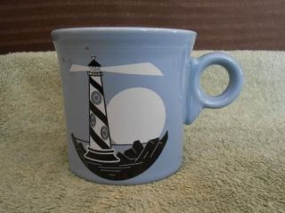 Laughlin Fiesta Ware Blue Periwinkle Light House Coffee Cup Mug USA