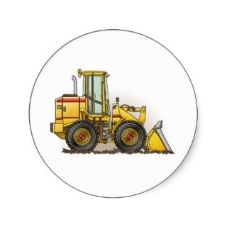 Rubber Tire Loader Construction Equipment Round Stickers