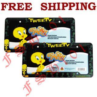 2pc Set Looney Tunes Cartoon Tweety Bird License Plate Frames