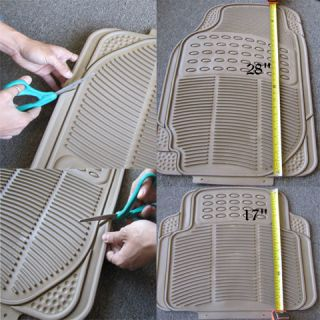 Semi Custom Tan Beige Rubber Floor Mats Steering Wheel Cover