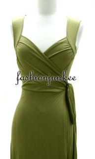 Olive Wrap Dress Jersey Short Sleeve Sash Tie Chic Sweetheart Neck