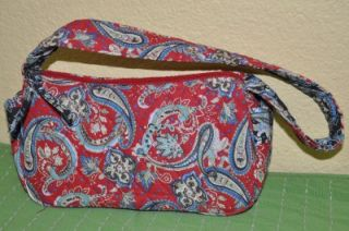 Lily Waters Red and Black Paisley Print Small Quilted Purse Handbag So