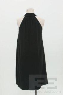 Limi Feu Black Silk Button Front Sleeveless Shirt Dress Size Small